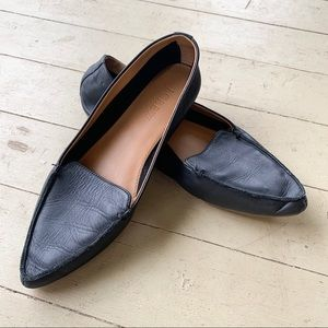 EUC J Crew pointed black leather flats 6.5
